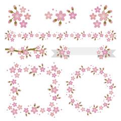 Sakura frame,border line and banner