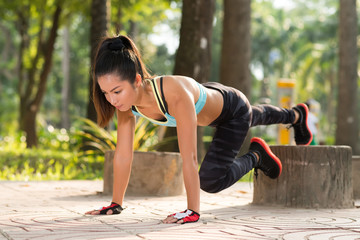 Doing plank exercise