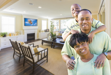 African Amercian Family In Living Room