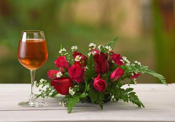 Brandy Wine Glass Rose Background nature