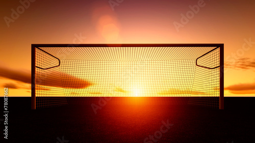 Foto op Plexiglas Zonsondergang Soccer goal on the football field