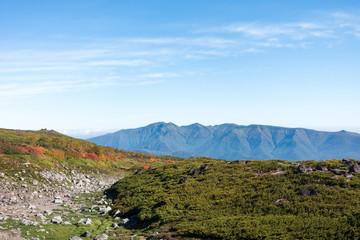 大雪山赤岳の紅葉とニセイカウシュッペ山