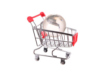 Steel wire shopping baskets and shopping cart