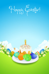 Easter Card with Landscape, Cake and Decorated Eggs