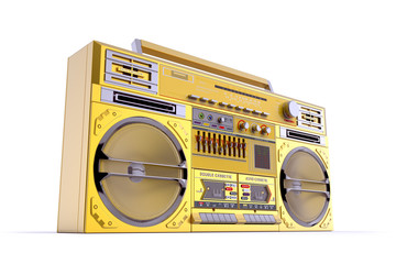 Gold Boombox Perspective View
