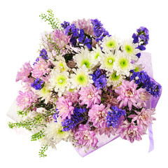 Bouquet of gerbera, carnations and other flowers in blue package