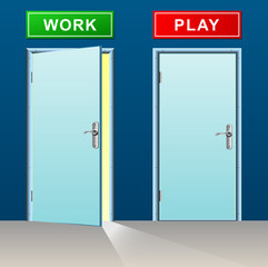 work and play doors concept