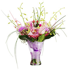 Colorful flower bouquet in glass vase isolated on white backgrou