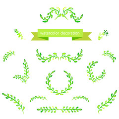 Watercolor green design elements. Borders, wreath