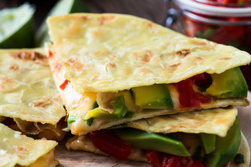 Homemade quesadilla,   tortilla filled with cheese and vegetable