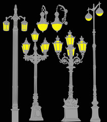 decorated grey street lanterns collection