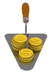 Монеты американского доллара лежат на мастерке