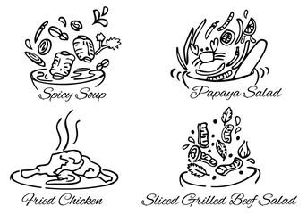 illustration of Thai foods