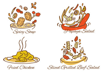 illustration of Thai foods vector