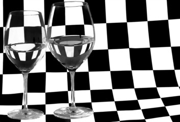 two glasses on white and black square background