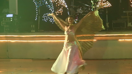 girl in theatrical costume with wings dance