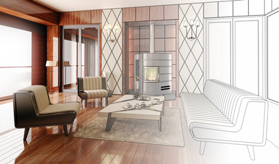 Apartment with a Fireplace (project)