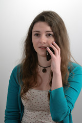 Girl is talking on the phone
