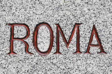 Roma Word Carved in Marble Stone