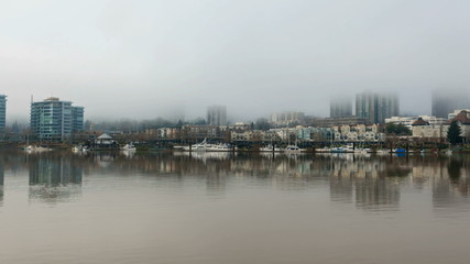 Time Lapse of Fog Over Portland OR with Condos Boats 1080p