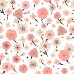 adorable plum flower seamless pattern