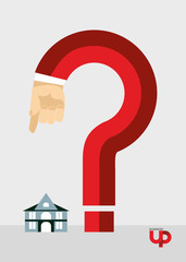 Question mark and the House. Business illustration. Hand gesture