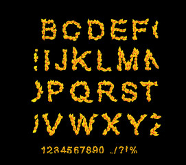 fire fonts. ABC Fire letters isolated on black background. Vecto