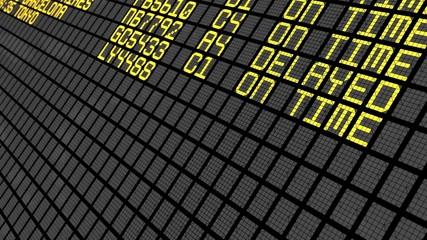 4K - International Airport Board Close-Up