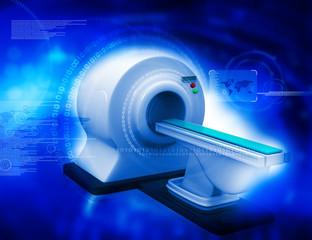 3d render of CT Scanner on digital background.