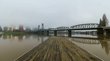 Time Lapse of Low Clouds and Fog Over City of Portland Oregon