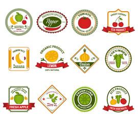 Fruit vegetables labels set color