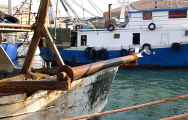 detail of Fishing vessel in sea haven moored in Italy
