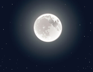 The full moon in the sky