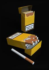 Zigarettenschachtel blanko auf schwarzem Hintergrund