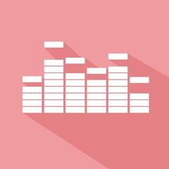 Icono ecualizador rosa sombra