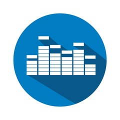 Icono ecualizador azul botón sombra