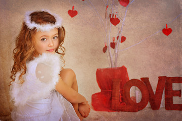 Angel girl on Valentine's Day
