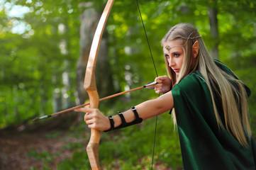 sexy girl elves produces an arrow from a bow