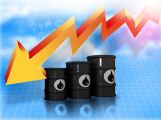 Oil Barrels with  falling oil price graph.