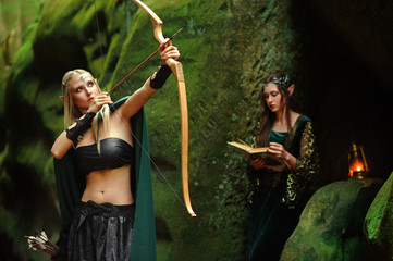 sexy girl elf the bow
