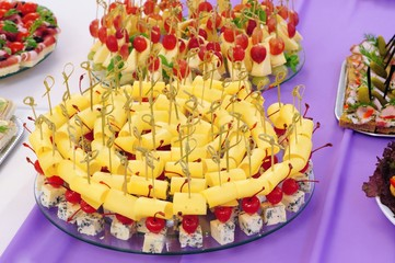 appetizer canape with Roquefort cheese and grapes
