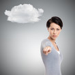 Serious decisive girl points hand gesture, isolated on grey