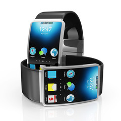 Advanced Technology Concept. Modern Black Smart Watches