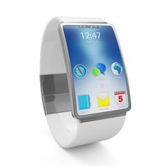 Advanced Technology Concept. Modern White Smart Watch