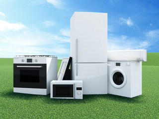 Group of home appliances on Beautiful Landscape with Clouds