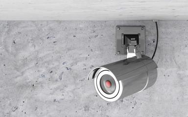 Modern Metallic CCTV Camera on the Ceiling