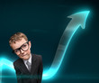 Little pensive businessmen in glasses with arrow going up