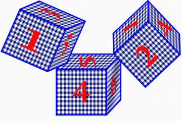 Cubes Vichy Bleu - Jeu de Dés - Casino