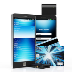 Mobile Banking Concept. Smart Phone and Credit Card