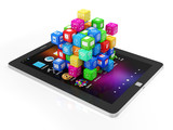 Black Tablet PC with Application Cubes